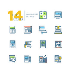 calculators - modern line design icons set vector image