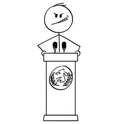 Cartoon evil man or politician speaking vector