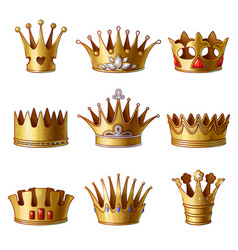 Cartoon royal gold crowns collection vector