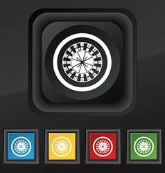 Casino roulette wheel icon symbol Set of five vector