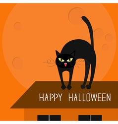Cat arch back Kitty on roof Yellow eyes fangs curl vector