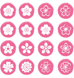 Cherry Blossoms or Sakura flowers Icons Set vector