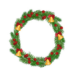christmas fir-tree wreath isolated on white vector image