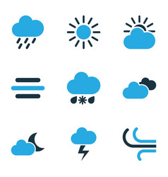 Climate colored icons set collection of wind vector