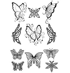 collection tattoo butterfly vector image
