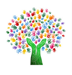 Colorful tree hand concept for nature team help vector