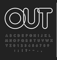 contour alphabet white letters on black vector image