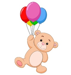 Cute bear cartoon with balloon vector