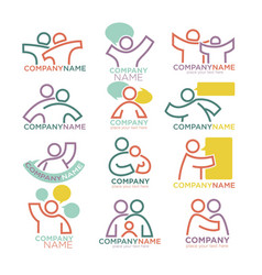 Family parents and child care logo templates vector