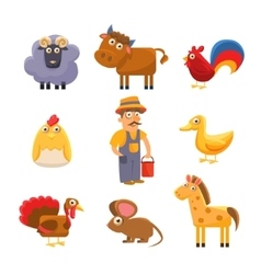 Farm Animal Collection Colourful vector image