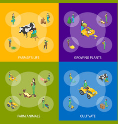 farmers at work 3d banner set isometric view vector image