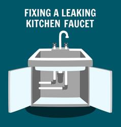 Fixing leaking kitchen faucet banner vector