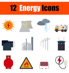 Flat design energy icon set vector image