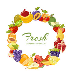 Fruits healthy eating frame isolated over vector
