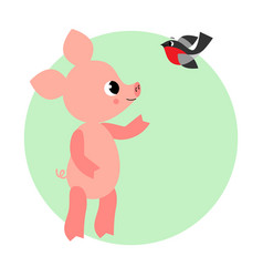 funny and cute pig vector image