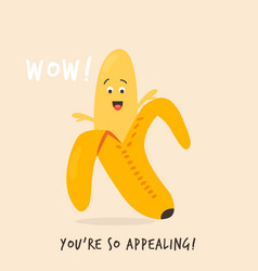Funny happy banana character design vector