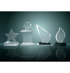 Glass Trophies Background Reflection Realistic vector