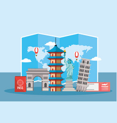 Global map and global towers tourism vector