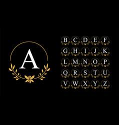 golden leaf wreath logo with alphabet vector image