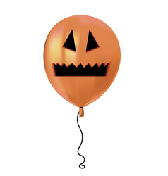 Halloween air flying balloon scary pumpkin face vector