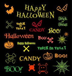 Halloween icons logos design elements and text vector