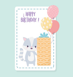 happy birthday raccoon with gift box and balloons vector image