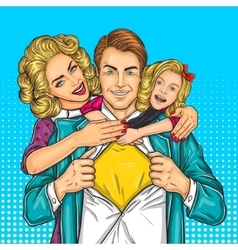 Happy family - super dad mother and daughter vector image