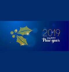 happy new year 2019 gold glitter holiday gift box vector image