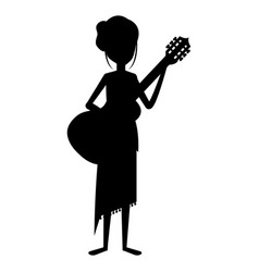 Hippie woman playing guitar silhouette vector