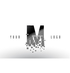 Im i m pixel letter logo with digital shattered vector