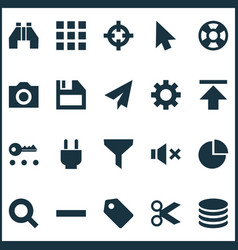 interface icons set with apps plug search and vector image