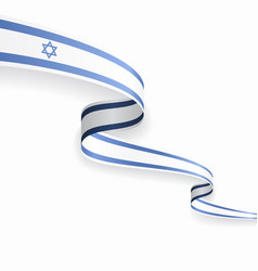 israeli flag wavy abstract background vector image