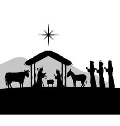 Joseph maria and jesus icon Merry Christmas vector image