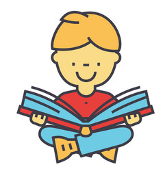 kid reading a book concept line icon vector image