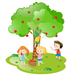 Kids picking apples from apple tree vector