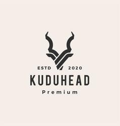 kudu head hipster vintage logo icon vector image