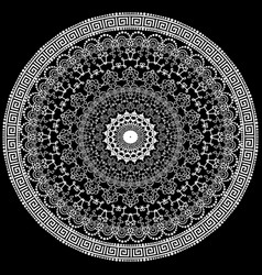 lace round floral mandala pattern in greek style vector image
