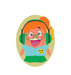 Laughing happy young girl geek avatar of little vector
