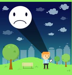 Man through the emotional sad resonance on smart vector