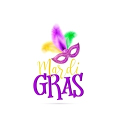 Mardi Gras text sign with vector image
