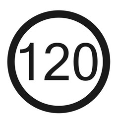 Maximum speed limit 120 sign line icon vector