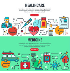Medicine and healthcare banners vector