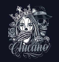 monochrome chicano tattoo vintage concept vector image