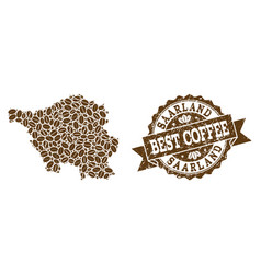 Mosaic map of saarland state with coffee beans and vector