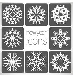 New Year Monochrome Icons Set with snowflakes vector