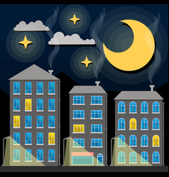 night city skyline silhouette old traditional vector image