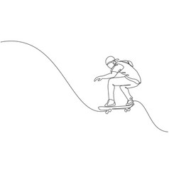 one continuous line drawing young cool vector image