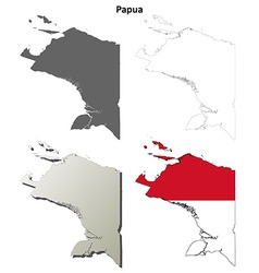 Papua blank outline map set vector