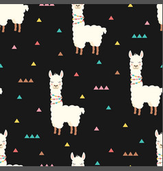 pattern with cute llama vector image