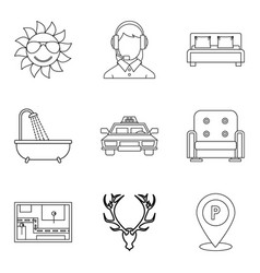 Pavilion icons set outline style vector